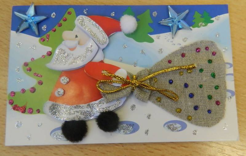 Новогодняя открытка своими руками в детский сад фото
